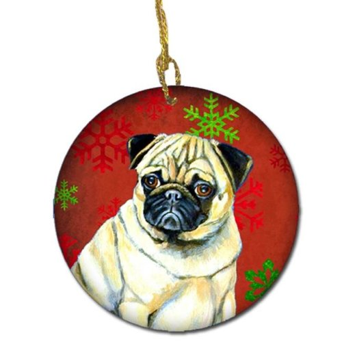 Pug Red Snowflake Holiday Christmas Ceramic Ornament