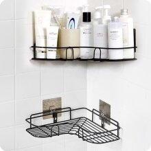 Corner Shower Shelf Holder Bathroom Kitchen Storage Rack Black Punch-Free