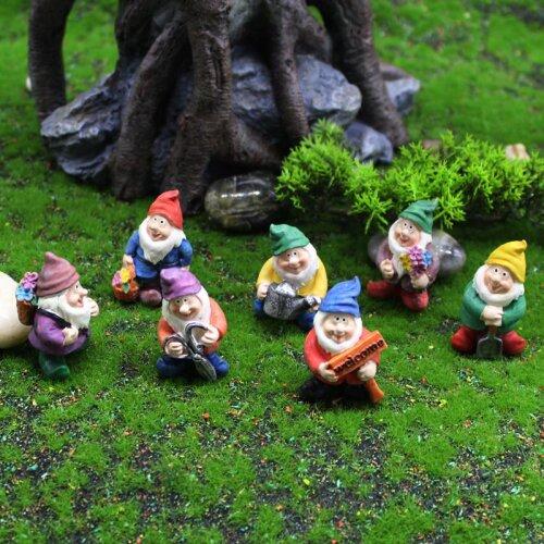 7pcs Mini Gnome Resin Garden Dwarf Outdoor Decor