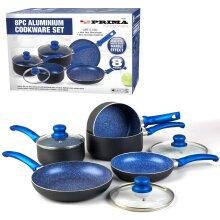 8PC COOKWARE NON STICK KITCHEN PAN SET BLUE SAUCEPAN FRYING PAN POT