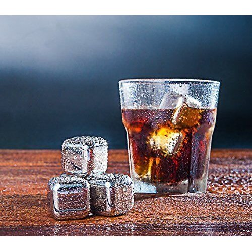 8 Stainless Steel Reuseable Whisky Ice Cubes -Drink Chilling Ice Rocks