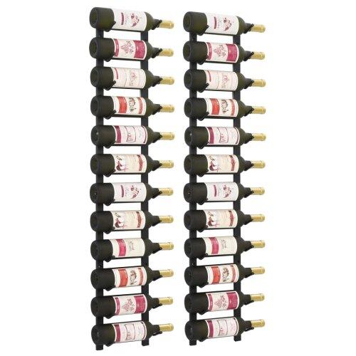 vidaXL 2x Wall Wine Racks 12 Bottle Display Drink Holder Storage Cabinet Shelf