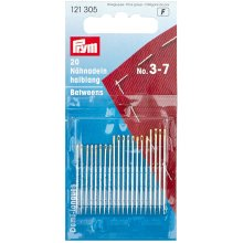 Prym Hand Sewing Needles Betweens 3-7 Assorted, Silver with Gold Eye
