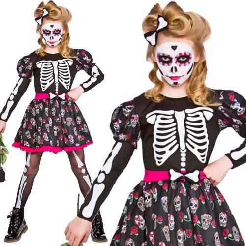 Wicked Costumes HG-6053 Skull of The Dead Size Age 8-10 Day of the Dead DOTD Halloween Fancy Dress