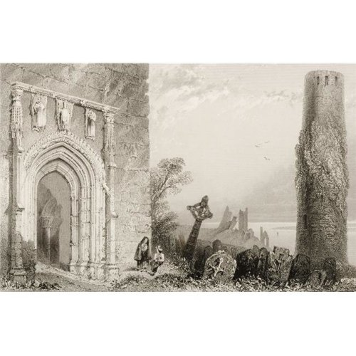 Entrance Doorway to the Temple Mcdermot Clonmacnoise Ireland Drawn by Whbartlett Engraved by R Brandard From Th Poster Print, 18 x 12