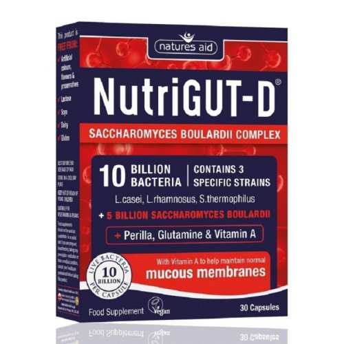 Natures Aid NutriGut-D 10 Billion Bacteria - 30 Capsules