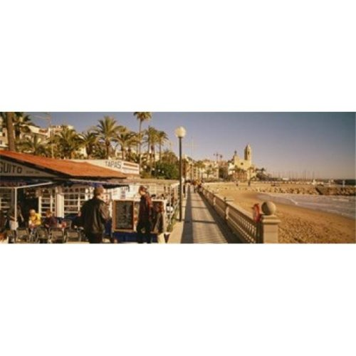 Tourists in a cafe  Tapas Cafe  Sitges Beach  Catalonia  Spain Poster Print by  - 36 x 12