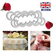 9Pcs 3D Peony Rose Petal Flower Icing Cutter Mold Cake Fondant Mould