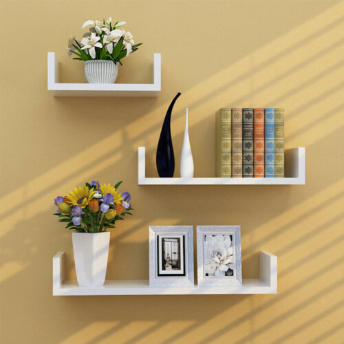 Set of 3 U Shape Floating Shelves Storage Display Shelf Home Décor