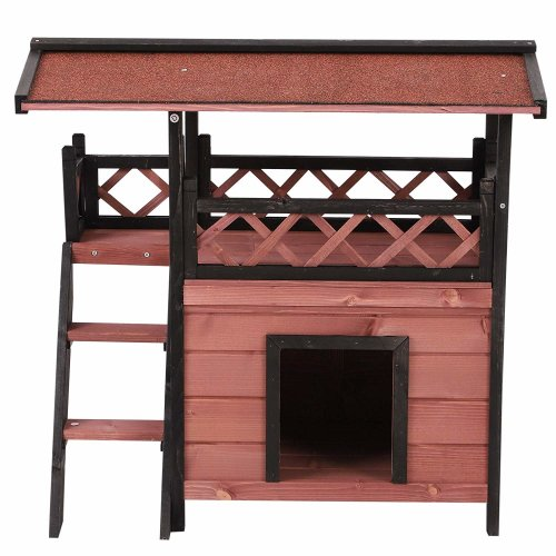 PawHut Wooden Outdoor Luxury Pet House | Outdoor Pet Shelter