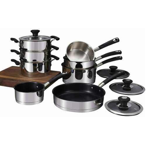 Tower T900100 Precision 8 Piece Pan Set, Stainless Steel