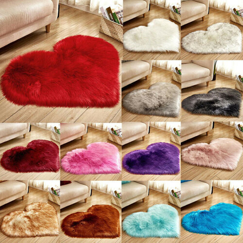 Love Heart Shaped Faux Fur Fluffy Bedroom Mat Anti-Skid Rugs Carpet Home Decor