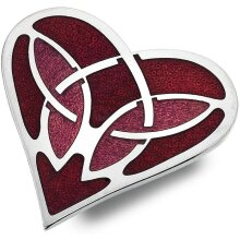 Red Celtic Heart Brooch Silver Plated Brand New Gift Packaging