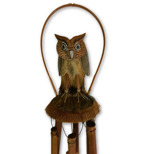Bamboo Windchime - Hand-Carved Owl Design