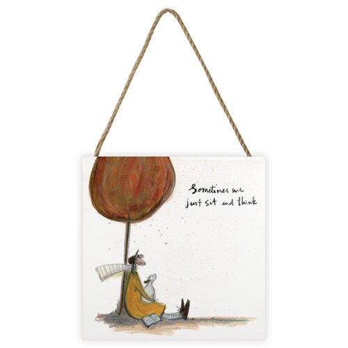 Sam Toft (Sometimes we Just Sit and Think) 20 x 20 x 3cm Wooden Wall Art