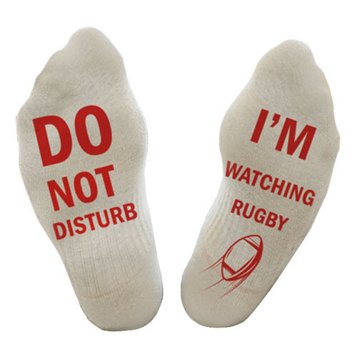 """Flo Cotton Ankle Socks """"Do Not Disturb, I'm Watching Rugby"""" - White"""