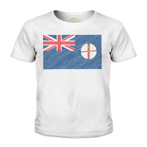 (White, 3-4 Years) Candymix - New South Wales Scribble Flag - Unisex Kid's T-Shirt