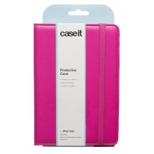 Caseit Pink PU iPad Mini Protective Case Folds Into Stand In Elastic Closure