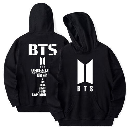(S, Black) Kpop BTS Bangtan Boys Hoodie Pullover Jungkook V J-hope Jumper Jimin