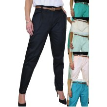 Womens Chino Pleated Tapered Cigarette Leg Trousers Free Belt 8-22