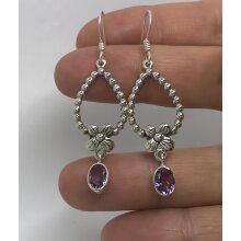 Real amethyst long flower drop earrings, oval, solid Sterling silver.