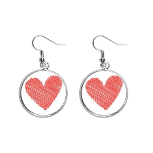 Heart Graffiti Line Valentine's Day Ear Dangle Silver Drop Earring Jewelry Woman