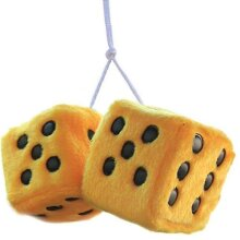 Square Mirror Hanging Couple Fuzzy Plush Dice With Dots For Car Decoration(Yellow)
