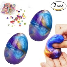 Hirsrian Fluffy Slime, 2 packs 60 g Galaxy Egg Slime Floam Colorful Mud Non-toxic DIY Toys for Kids and Adult