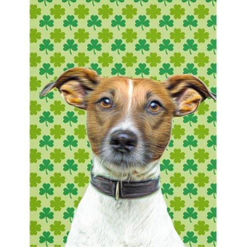 St. Patricks Day Shamrock Jack Russell Terrier Flag Garden Size