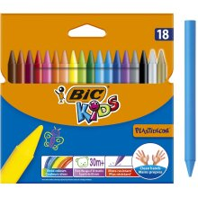 BIC Kids Plastidecor Colouring Crayons - Assorted Colours, Cardboard Wallet of 18