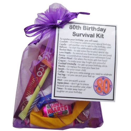 80th Birthday Survival Kit Gift Bag