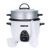 Geepas 1L Rice Cooker with Steamer   400W   Non-Stick Inner Pot