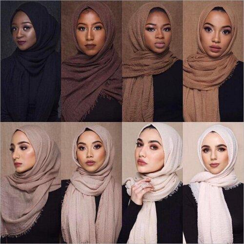 70*180cm Muslim Crinkle Hijab Scarf Femme Soft Cotton Headscarf Islamic Hijab Shawls and Wraps