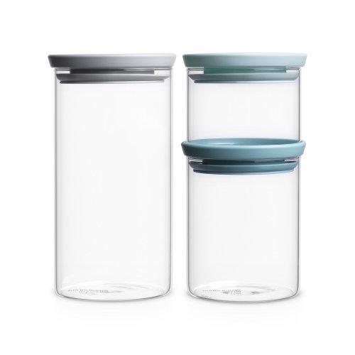 Brabantia Glass Stackable Jars (0.3/0.6/1.1 L), Set of 3