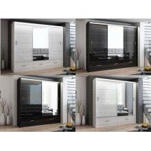 Sliding door wardrobe Marsylia with mirror and led