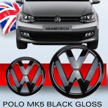 Modifix - Polo V 6R GLOSS BLACK FRONT & REAR VW BADGE EMBLEM SET R GTI TDI GTD