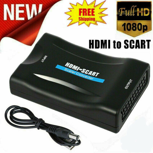 HDMI to SCART Adapter 1080P Video Audio New Converter USB Cable TV DVD