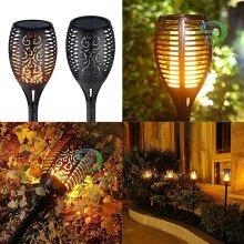 12 LED Solar Garden Flame Light Flickering LED Torch Lamp Outdoor Waterproof