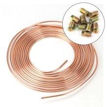 "Brake Pipe Copper Line 3/16"" 25Ft & 20x Male/Female Brake Nuts 3/8""U"