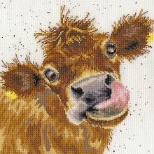 Bothy Threads counted cross stitch kit - Moo- Brown Cow14 count speckled aida