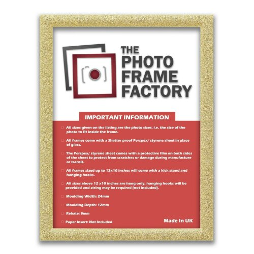 (Gold, 16x12 Inch) Glitter Sparkle Picture Photo Frames, Black Picture Frames, White Photo Frames All UK Sizes