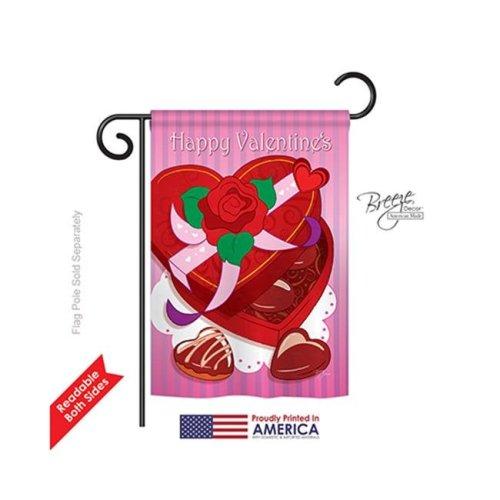 Breeze Decor 51044 Valentines Chocolates 2-Sided Impression Garden Flag - 13 x 18.5 in.