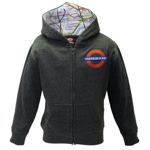Kids Licensed Chain Stitch Embroidery Underground Zipped Hoodie Grey