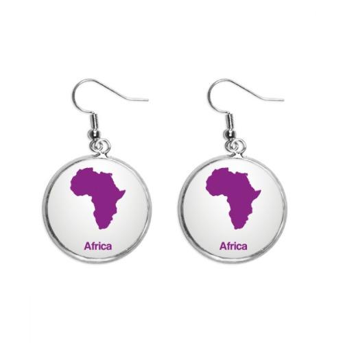 Purple Africa Illustration Map Pattern Ear Dangle Silver Drop Earring Jewelry Woman
