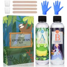 Epoxy Resin Kit Casting and Coating Crystal Clear Epoxy Art Resin for Table Jewelry Making 360ml With Measuring Cups Rubber Gloves Sticks