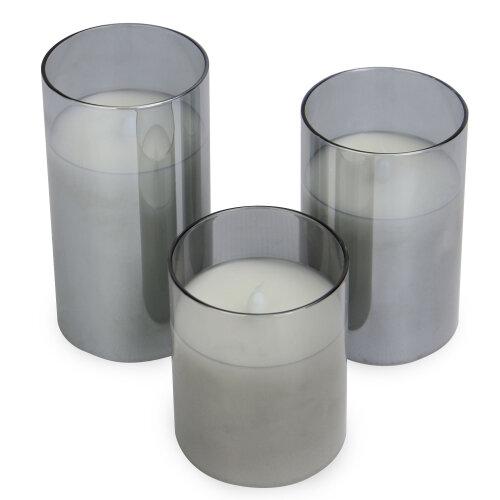 LED Candles - Set of 3 | M&W Grey