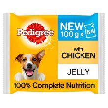84 x 100g Pedigree Chicken in Jelly Wet Dog Food Pouches