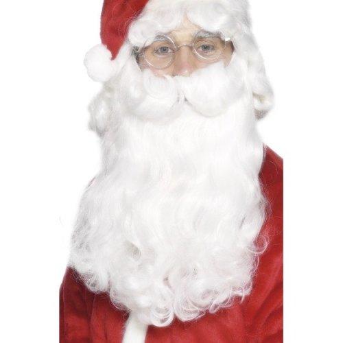 Santa Beard, White, 38cm / 15in, Deluxe -  beard santa deluxe christmas fancy dress white mens accessory costume luxury curly long