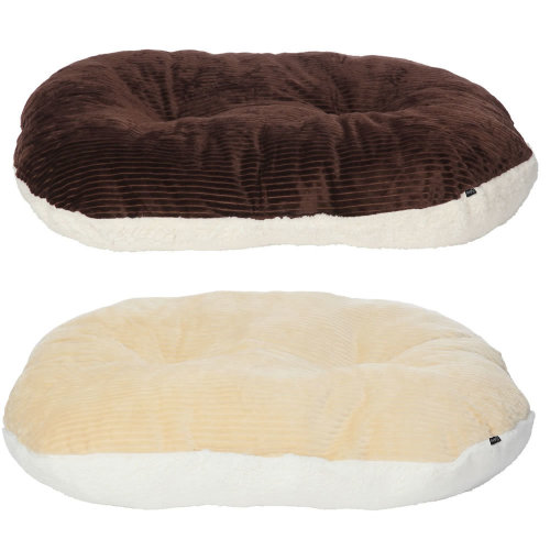 (Brown, Large) Chester Oval Fleece Dog Bed