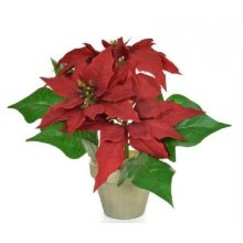 Artificial Silk Poinsettia Potted Arrangement - 26cm, Red